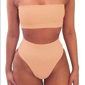 Bandeau High Waisted Bikini - Nude
